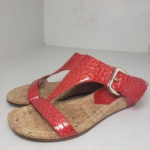 Donald J Pliner Doli3 Leather Red Open Toe Sandals